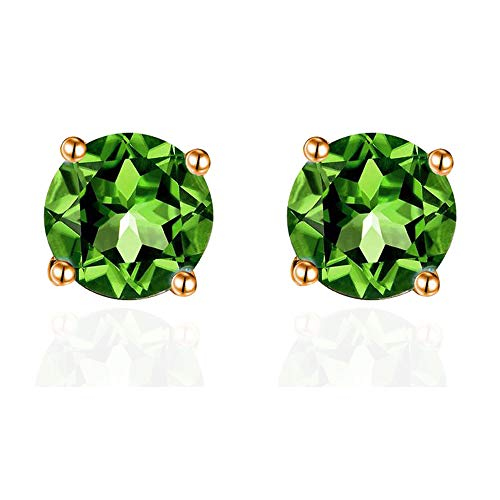 SiBeXu 6MM Emerald Green Crystal Stud Earrings with Rose Gold Plated Girls Birthstone(Rose Gold Green)