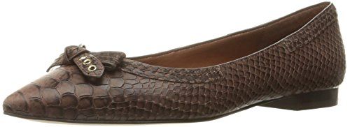 Cole Haan Women's Alice Bow Skimmer Pointed Toe Flat, Chestnut Snake Print, 10 B US