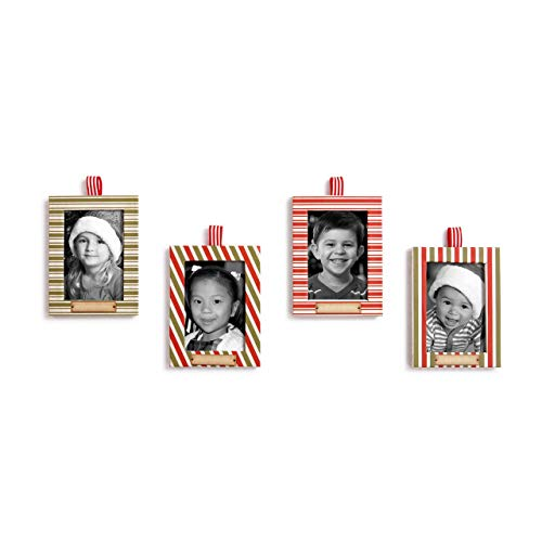 Redrock Traditions Photo Frame Candy Striped 4 x 3 Paperboard Christmas Ornament Set of 4 -