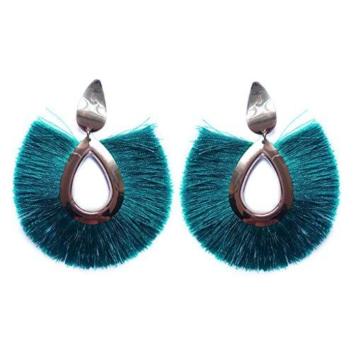 (T T Store 19 Colors Bohemia Fan Tassel Earrings Waterdrop Vintage Tassel Dangles Earring Jewelry Fringe Earrings (Green,one Size))