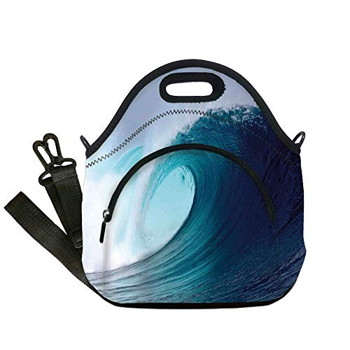 Insulated Lunch Bag,Neoprene Lunch Tote Bags,Ocean Decor,Tropical Surfing Wave on a Windy Sea Indonesia Sumatra Decorative,for Adults and children