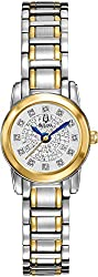 Bulova Highbridge Silver Diamond Pave Dial Two-tone Ladies Watch 98P133