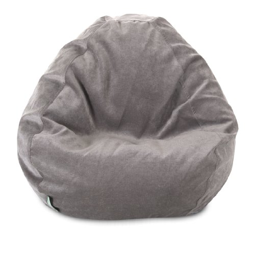 Majestic Home Goods Classic Bean Bag Chair - Villa Giant Classic Bean Bags for Small Adults and Kids (28 x 28 x 22 Inches) (Vintage Gray)