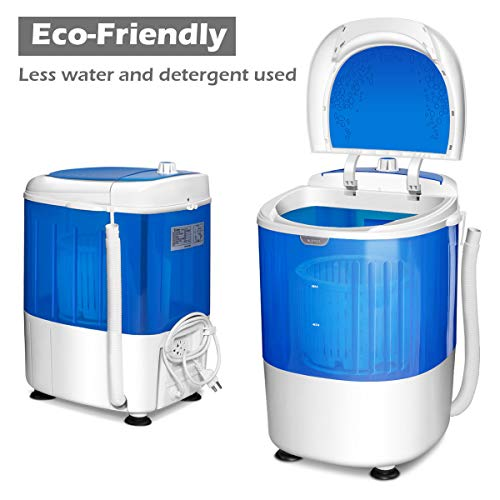 COSTWAY Mini Washing Machine with Spin Dryer, Electric Compact Laundry Machines Portable Durable Design Washer Energy Saving, Rotary Controller(Blue)