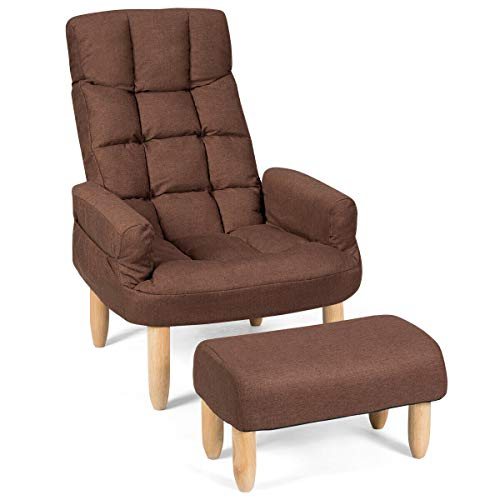 Giantex Folding Lazy Sofa Chair w/Ottoman, Thick Padded Linen Lounge Armchair Set, Adjustable Backrest Headrest in 10 Position, Easy Assembly, Single Recliner for Living, Bedroom Small Apartment