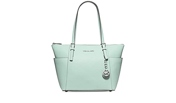f9671bef6599cc Amazon.com: MICHAEL Michael Kors Jet Set East West Top Zip Tote (Green  Celadon): Shoes