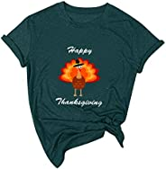Women Thanksgiving Printing Short Sleeve O-Neck T-Shirt Tunic Blouse Tops Round Neck Autumn Pumpkin Print Than