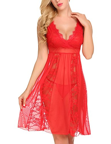 Avidlove Women's Sexy Long Lace Lingerie Nightdress Sheer Nightgown Chemise Red