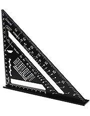 7 inch driehoekige liniaal, 7 inch driehoek hoekmeter, aluminium driehoekige liniaal, zwarte aluminiumlegering, zeer nauwkeurige driehoek liniaal voor meetliniaal gereedschap (metrisch)