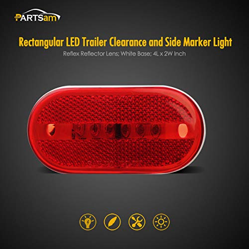 Partsam-1-Pair-of-Red-Oblong-ClearanceSide-Marker-light-wWhite-Base-For-Camper-BoatPack-of-2-pcs-Sealed-4-x-2-Rectangular-Rectangle-Led-Lights-Reflectorized-RV-Accessories