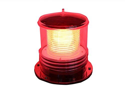 (Solar Dock Warning Light - Waterproof Solar Dock Lighting - RED LED Flashing 360 Degree Lighting)