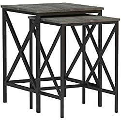Convenience Concepts Tucson Nesting End Tables, Weathered Gray/Black