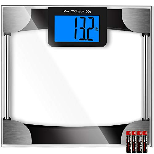 Scale Bathroom 440 Lb (Kasonic Digital Body Weight Bathroom Scale - Large Digits LCD Display; Max Weight 440 Pounds; 8MM Thickness Tempered Glass; 4Pcs AAA Battery Include; Anti Slip Bottom Pads Technology)