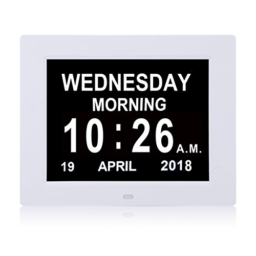 SSYA [Newest Version] Day Clock - 12 Alarm Options, Level 5 Auto Dimmable Display,Extra Large Impaired Vision Digital Clock with Non-Abbreviated Day & Month Alarm Clock