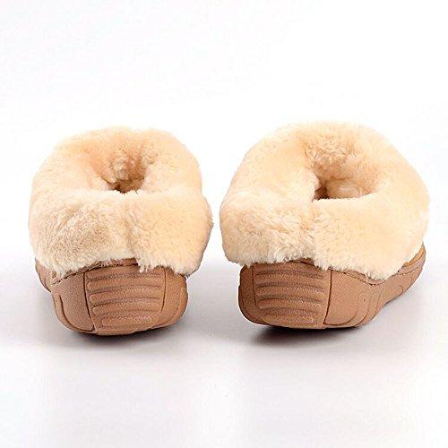 Oyangs Pantoffels Voor Dames, Damespantoffels, Lederen Pantoffels, Schapenvacht-pantoffels, Pantoffels Dames, Pantoffels, Pantoffels, Damesslippers, Pluizige Pantoffels Pluizig Huis Comfortabele Pantoffels S106 Bruin