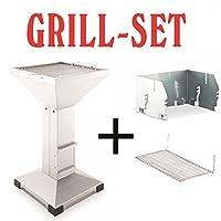 Säulengrill Thüros Einsteiger Set Grill-Set silber XL Pillar Camping Balkon ✔ eckig ✔ stehend grillen ✔ Grillen mit Holzkohle