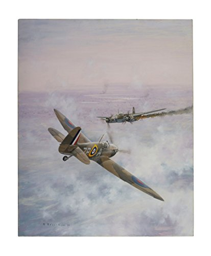 Raf Airplane - Continental Shift Ltd 'Spitfire Over South London' Vintage Royal Air Force Aircraft Canvas Aviation Print by The Late Ron Belling - RAF Airplane Wall Art - Size Approx. (HxW): 30