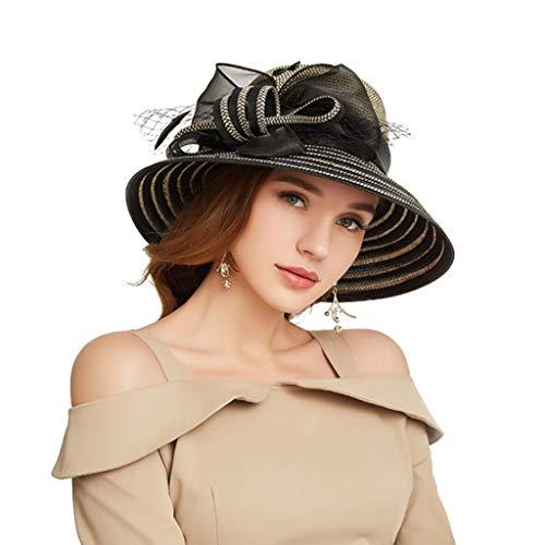 Ximeny Women Foldable Organza Church Derby Hat Ruffles Wide Brim Cap Black
