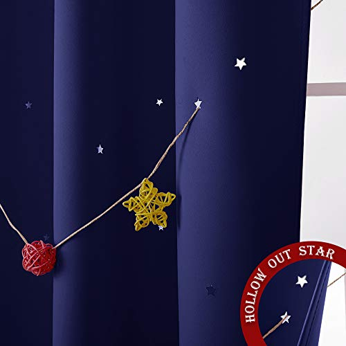 NICETOWN Romantic Starry Sky Curtain - Naptime Essential Nursery Window Drape for Galaxy Themed Bedroom with Clean Cut Stars (Sold Individually, W52 x L84-Inch, Royal Navy Blue)