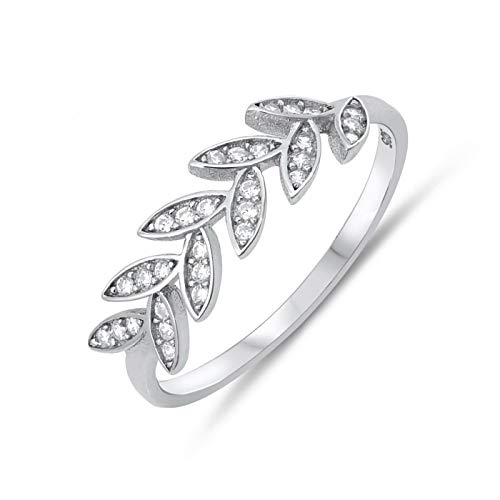 Olive Brach Wedding Anniversary Womens 925 Sterling Silver CZ Nature Leaves Ring Size 4 ()