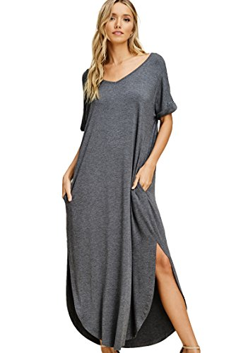 (Annabelle Women's Short Twisted Sleeves Solid Knit Print Low Cut Out Back Full Length Plus Size Dress Mid Grey X-Large D5210PK)