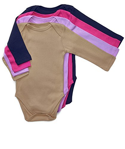 4 Pack Long Sleeve Bodysuit Girl Solid Color 18-24 Months