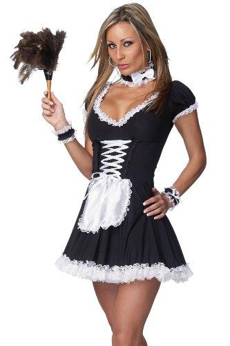 Sexy French Maid Costume - Dress, Apron, Collar, Wrist Cuffs and Crinoline