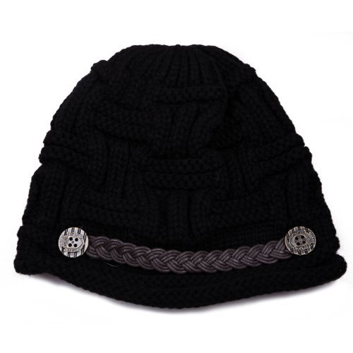HDE Women's Winter Fashion Oversized Crochet Cable Braided Knit Jeep Visor Beanie Hat (Black) Knit Beanie Hat Patterns