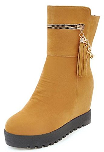 IDIFU Womens Comfy Mid Hidden Wedge Heels Platform Pull On Faux Suede Riding Ankle Boots Yellow aSliFEuE6Q