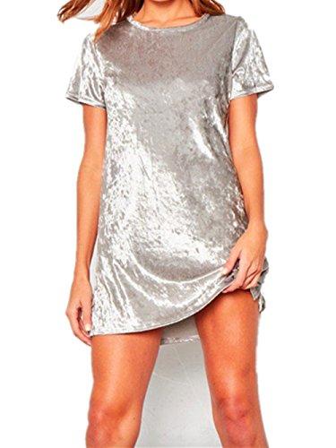 Menglihua Women Vintage Velvet Short Sleeve Crew Neck Casual T Shirt Mini Party Dress Silver S
