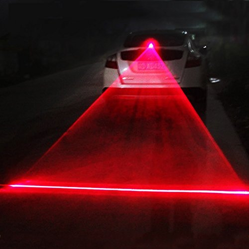 Car Anti-collision Laser Fog Light Auto Anti-fog Parking Stop Braking Signal Indicators Motorcycle LED Warning Light (Strong red line)
