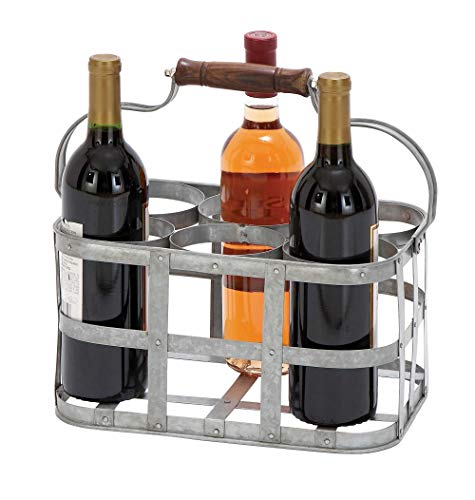 Elegant Metal Wine Holder With Silver Handle