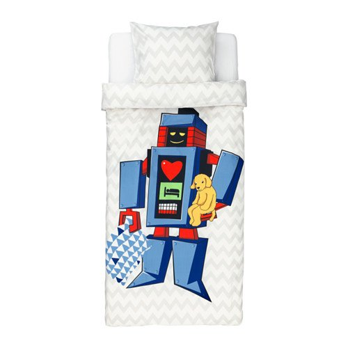 Reversible Duvet Cover and Pillowcase, Big Robot, Twin Size Light Gray LATTJO by IKEA