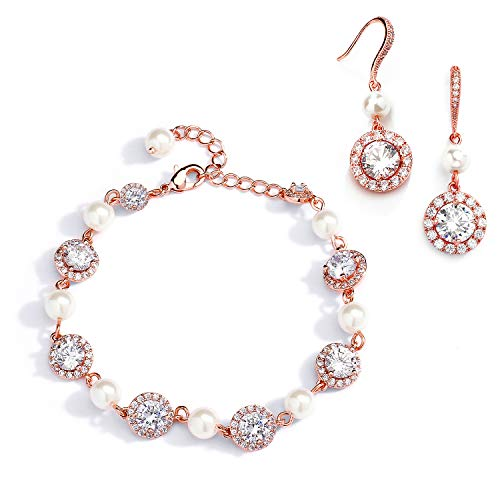 - Mariell Rose Gold & Pearl Round CZ Bridal Bracelet & Earrings Set - Wedding Jewelry Sets for Bridesmaids