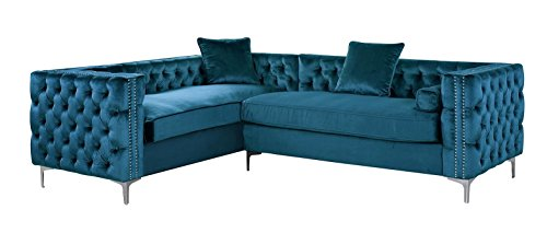 Iconic Home FSA2588-AN Mozart Elegant Velvet Modern Deeply Tufted with Silver Nailhead Trim Chrome Legs Left Facing Sectional Sofa, Teal