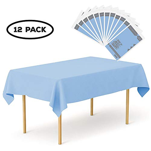 YouMakeMeHappy Plastic Tablecloth 12 Pack Disposable Rectangle Table Covers - 54