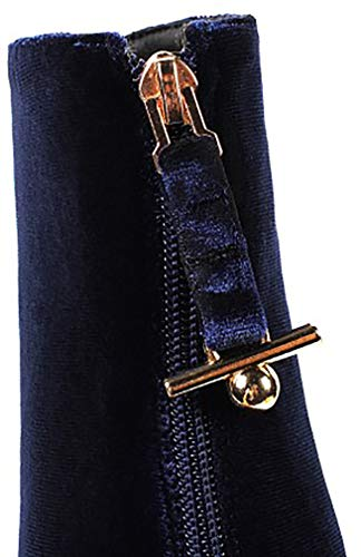 Slip Stivali 8cm Ankxis on Calaier Tacco Blu Donne qX7Ttt