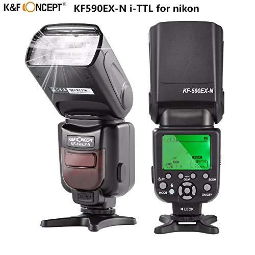 HAMISS K&F Concept KF590EX-N LCD Wireless TTL Flash Speedlite Master Slave Speedlight for Nikon d3300 d7200 d3200 d800 d750 DSLR Camera