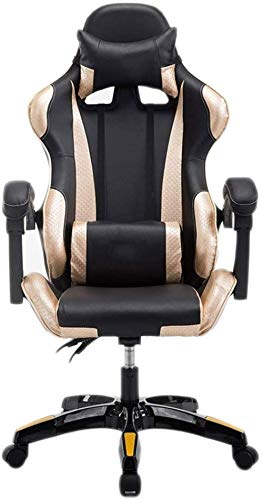 Gaming Chair Racing Office Computer Game Chair Respaldo ergonomico y Ajuste de Altura del Asiento Reclinable Mecedora giratoria con reposacabezas y Almohada Lumbar Silla E-Sports (Color: B)-F Imp