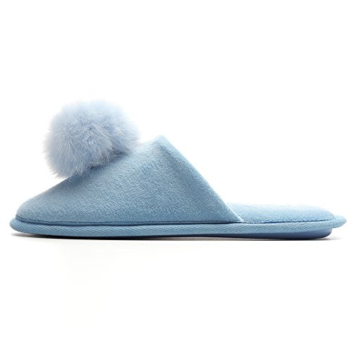 Women's Plush Slippers with Pompon Comfy Velvet House Shoes Cotton Sandals Anti-Slip Cute Mule Memory Foam Home/Indoor Slip On Summer/Winter, 4 Colors Sky Blue