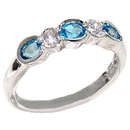 Solid 925 Sterling Silver Ladies Blue Topaz & Cubic Zirconia CZ Band Ring -...