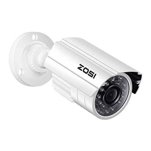 ZOSI 1.0MP HD 1280TVL Indoor/Outdoor Security Camera 720p(Hybrid 4-in-1 HD-CVI/TVI/AHD/960H Analog CVBS),24PCS LEDs,65ft IR Night Vision, Weatherproof Surveillance CCTV Bullet Camera