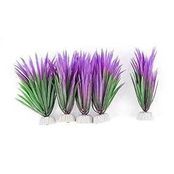 Planta de agua DealMux acuario de plástico pecera decoración 5 x Verde Violeta: Amazon.es: Productos para mascotas