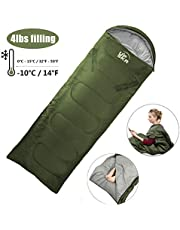 UPSKR Sleeping Bag Lightweight & Waterproof for Adults & Kids Cold Weather, 4 Season Rectangular Sleeping Bags Great for Indoor & Outdoor Use Hiking Backpacking Camping Traveling with Compression Sack