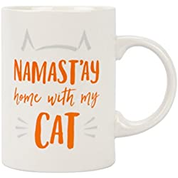 Pearhead Namast'ay Home with My Cat, Novelty 14 oz Ceramic Coffee Mug