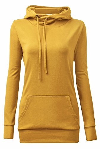YaYa Bay Hoodie Tshirt, Womens Teen Girls Long Sleeve String Pullover Funnel Neck Kangaroo Pouch Pocket Vintage Corn Tunic Sweater Hoodie Medium (Funnel Neck Shirt)