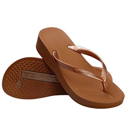 - Hotmarzz Women's Platform Flip Flop Wedge Sandal Summer Beach Slippers Size 8 B(M) US / 39 EU, Coffee