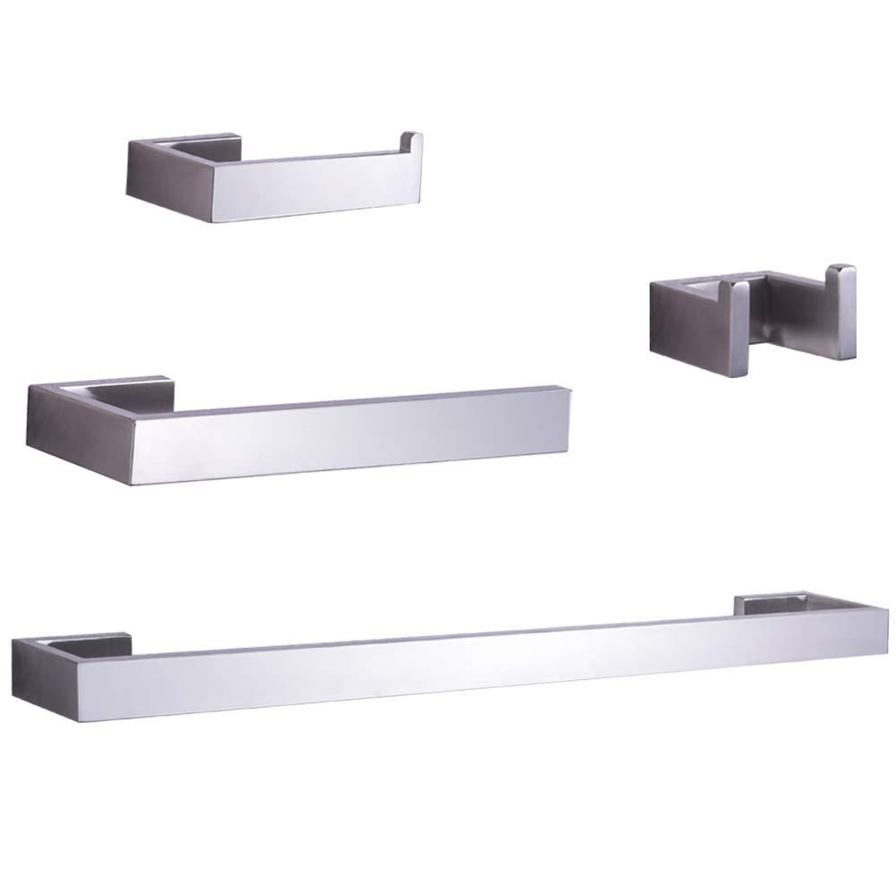 Rugus Modern Bathroom Accessories- 4-Piece Bath Hardware Towel Bar Accessory Set-Brushed Nickel