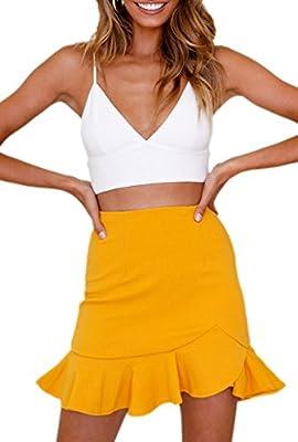 JIARAN Women's High Waist Solid Ruffle Casual Skirt Mini Pencil Skater Skirt