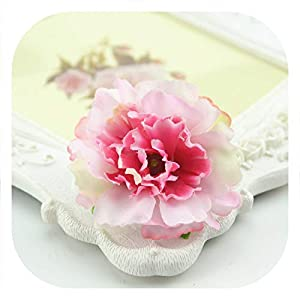 Memoirs- 10Pcs 4.5Cm Artificial Silk Flowers European Fall Vivid Peony Fake Leaf Wedding Home Party Decoration Peony, Pink 64